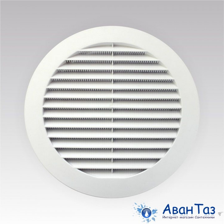Решетка вентиляционная круглая с пластиковой сеткой D130 с фланцем D100 10РКС,
